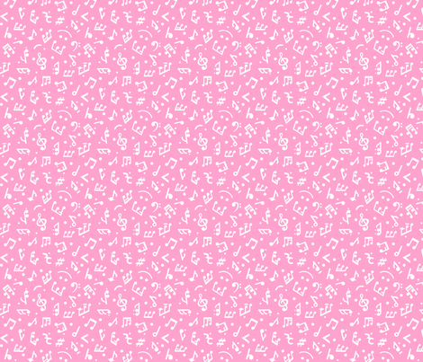 Music Notes on Pink BG in tiny scale fabric by happyart on Spoonflower - custom fabric