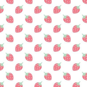 Sweet strawberry summer fruit girls fabric pink mint