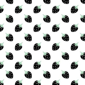 Sweet strawberry summer fruit girls fabric mint black and white