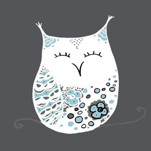 Winter Snow Owls on gray
