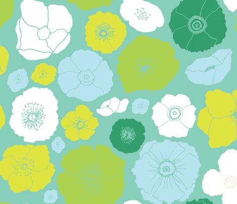 Giant Retro Handdrawn Florals fabric by onelittleprintshop on Spoonflower - custom fabric