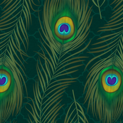 Peacock Feather Lattice - Teal