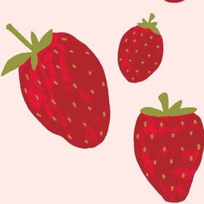 large scale strawberries on pale pink
