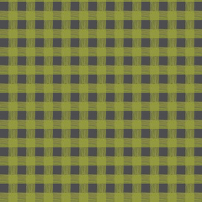gingham midnight grey & garden green