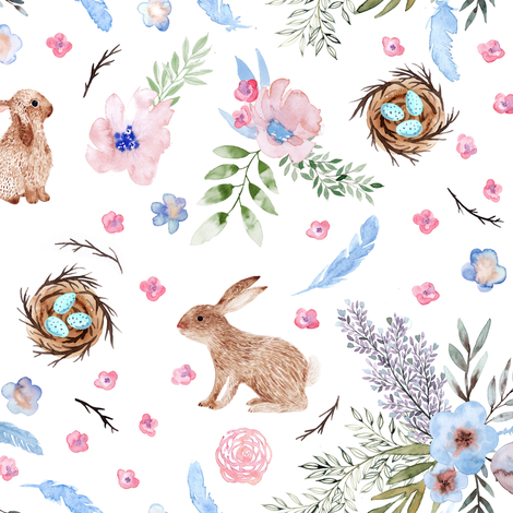 Easter bunnies, eggs, spring flowers fabric by rebecca_reck_art on Spoonflower - custom fabric