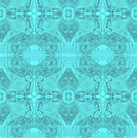 Morning Reverie in Tangled Shades of Turquoise, small scale fabric by maryyx on Spoonflower - custom fabric
