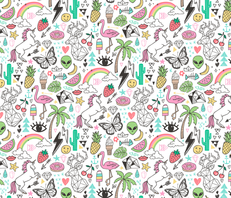 Summer Doodle Geometric Triangle Deer & Unicorn Rainbow Cactus Flamingo Pineapple fabric by caja_design on Spoonflower - custom fabric