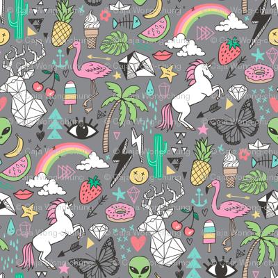 Summer Doodle Geometric Triangle Deer & Unicorn Rainbow Cactus Flamingo Pineapple on Grey