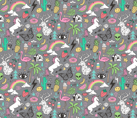 Summer Doodle Geometric Triangle Deer & Unicorn Rainbow Cactus Flamingo Pineapple on Grey fabric by caja_design on Spoonflower - custom fabric