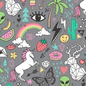 Summer Doodle Geometric Triangle Deer & Unicorn Rainbow Cactus Flamingo Pineapple on Grey