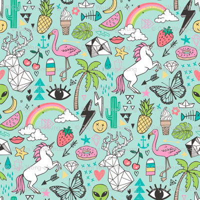 Summer Doodle Geometric Triangle Deer & Unicorn Rainbow Cactus Flamingo Pineapple on Mint Green