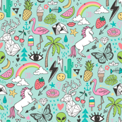 Summer Doodle Geometric Triangle Deer & Unicorn Rainbow Cactus Flamingo Pineapple on Mint Green