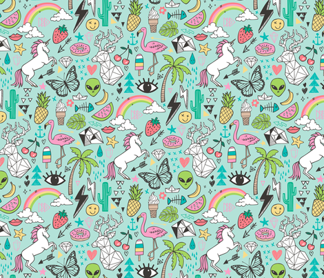 Summer Doodle Geometric Triangle Deer & Unicorn Rainbow Cactus Flamingo Pineapple on Mint Green fabric by caja_design on Spoonflower - custom fabric