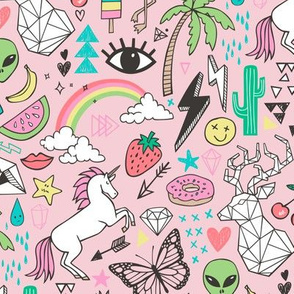 Summer Doodle Geometric Triangle Deer & Unicorn Rainbow Cactus Flamingo Pineapple on Pink