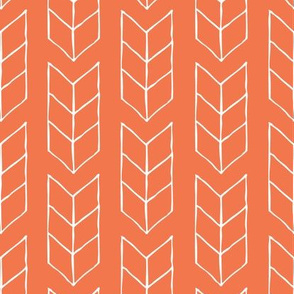 drawn triple chevron arrow - coral rose