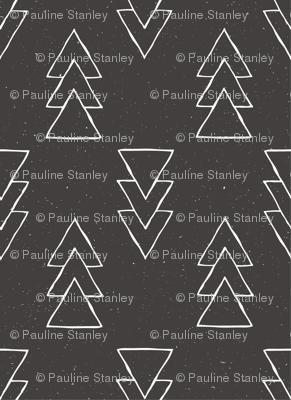 drawn triple triangle arrow - black
