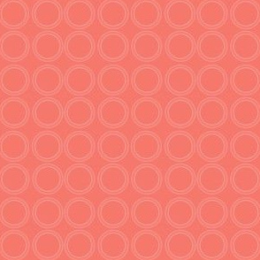 Circle Rings in Subtle White with Strong Coral Background
