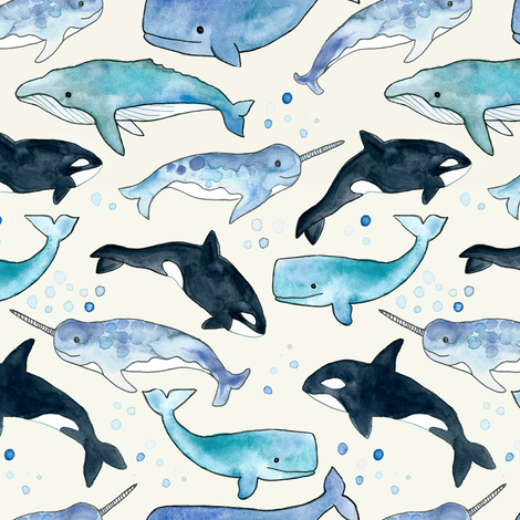 Whales, Orcas & Narwhals fabric by tangerine-tane on Spoonflower - custom fabric
