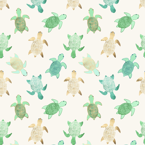 Gilded Turtles fabric by tangerine-tane on Spoonflower - custom fabric