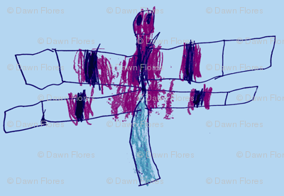 Dragonfly Drawing (Blue)