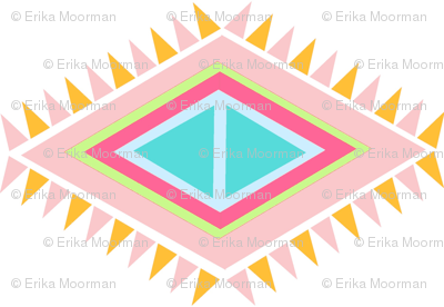Aztec  Quilt Row- SMALL - tropical pink