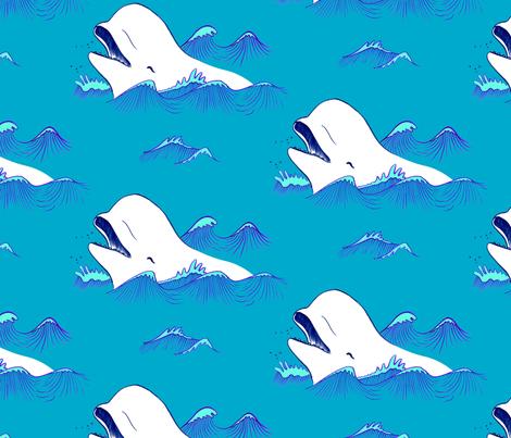 Happy Belugas in the blue ocean  fabric by indiepixels on Spoonflower - custom fabric