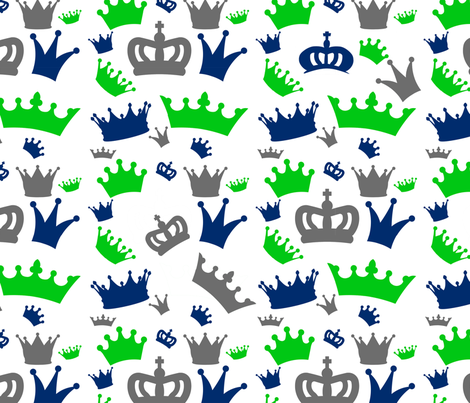 Navy Lime Gray Crown fabric by suitebaby on Spoonflower - custom fabric