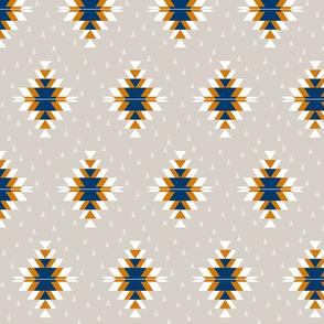 Tribal Diamond Navy Orange