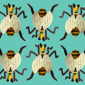 Felt Bees on Parade on Teal Blue