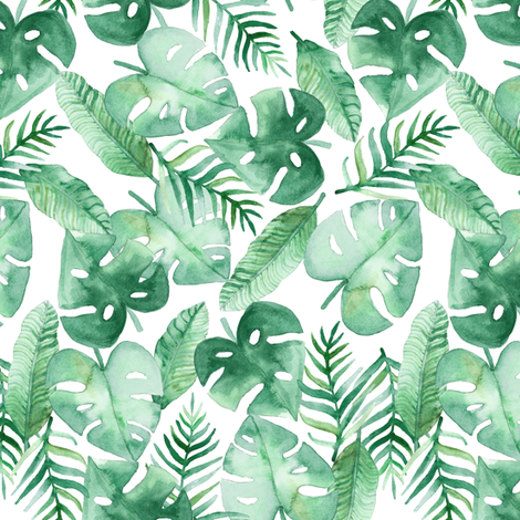 Tropical Jungle on White fabric by tangerine-tane on Spoonflower - custom fabric