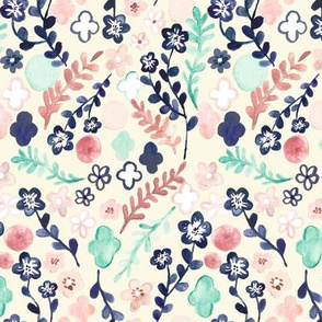 Scattered Floral in Navy, Teal & Pink