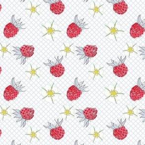 Strawberries & Flowers - Erdbeeren&Büten - weiss