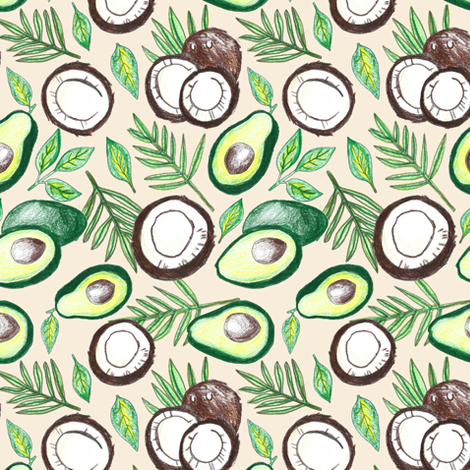Coconuts & Avocados  fabric by tangerine-tane on Spoonflower - custom fabric