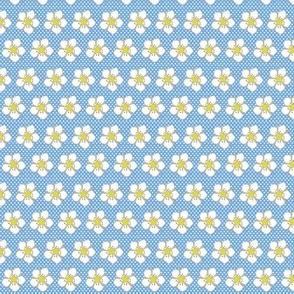 Strawberry Flowers - Erdbeerblüte auf kleinen Tupfen - blau