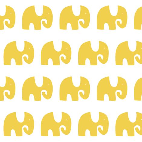 Elephant Parade - Yellow fabric by stitch+press on Spoonflower - custom fabric