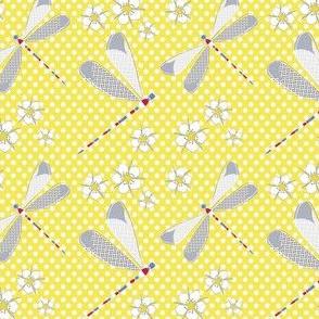 Dargonfly & Flower - Libelle & Blumen - gelb