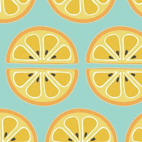 orange slices - sea green