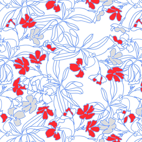 Summer floral in vermillion red fabric by joanmclemore on Spoonflower - custom fabric