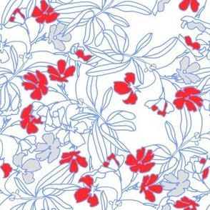 Summer floral in vermillion red