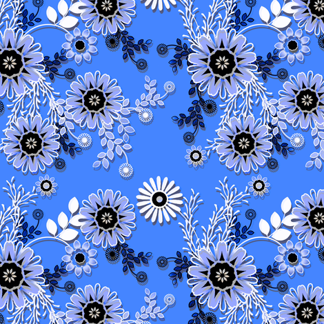 Cornflower lace floral fabric by joanmclemore on Spoonflower - custom fabric