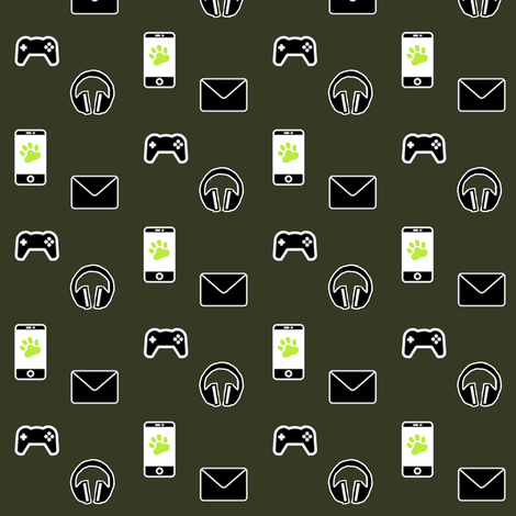 Millennials (army green gamers variant) fabric by mmarie-designs on Spoonflower - custom fabric