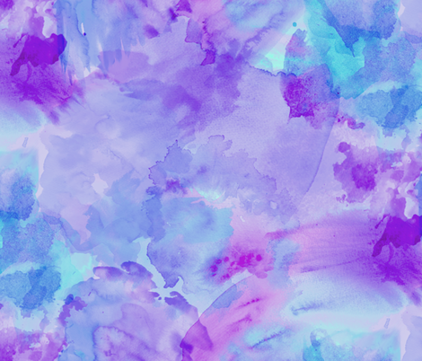 Aqua Violet Watercolor Splashes fabric by xoxotique on Spoonflower - custom fabric