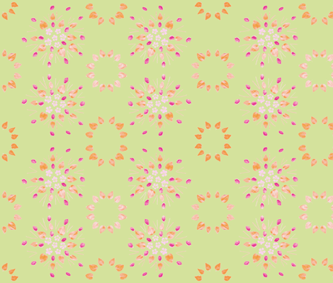 Periwinkle & Peach Pits (Lime) fabric by forestprojectkids on Spoonflower - custom fabric