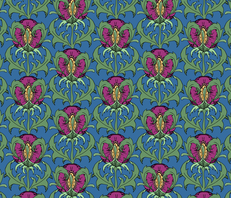 Red Violet Floral fabric by pond_ripple on Spoonflower - custom fabric