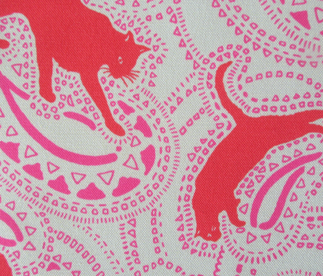 Paisley-Power-red-pink-cat-print-fabric-design