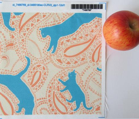 Paisley-Power-turquoise-caramel-cat-print-fabric-design