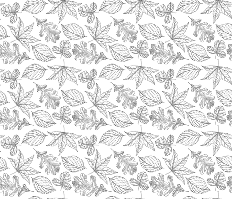 Pen and Ink Leaves (small) fabric by aalk on Spoonflower - custom fabric