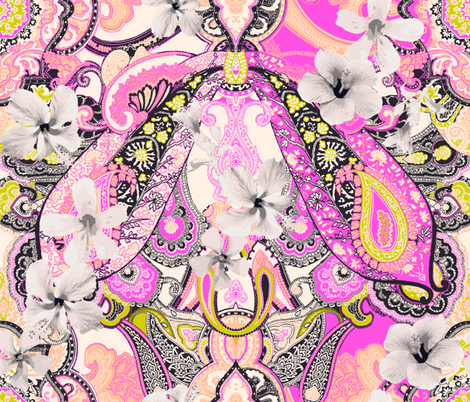 Coral Pattern Fabric paisley-power-hibiscus-paisley-print-in-pink-coral-mustard fabric