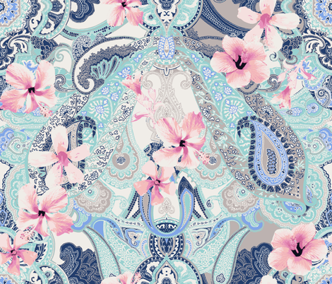 Paisley-Power-hibiscus-paisley-print-in-pink-teal-brown fabric by paisleypower on Spoonflower - custom fabric
