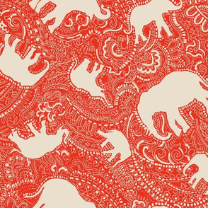 Paisley-Power-ivory-orange-red-elephant-print-fabric-design
